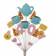 Afternoon tea 40th birthday cake topper decoration in pale blue and pale pink - free postage